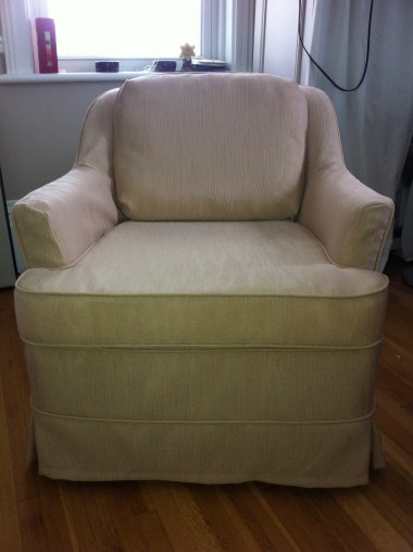 Front view of slipcover and pillow for tub chair. 2015