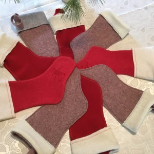 Wool Christmas stockings from felted blanket & sweaters