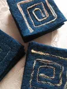 3 sets of 4 blue felted wool coasters. Reclaimed sweater.