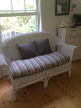 Love seat recovered once again as it is gifted to a family member.