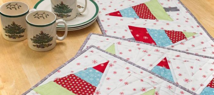 Tannenbaum Trio placemat and table runner pattern by Kate Colleran