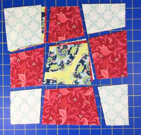 Wonky 9 Patch Tutorial featured by top US quilting blog and shop, Seams Like a Dream Quilt Designs: 3 blocks cut and ready to sew