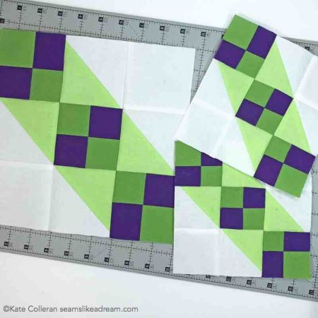 block 2 Adventure quilt in greens and purple