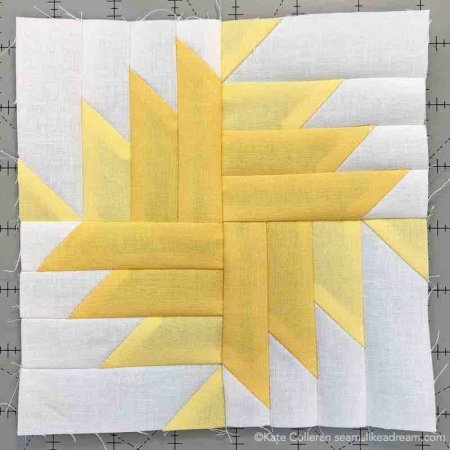 Adventure Quilt Along Project block 3 featured by top US quilting blog and shop, Seams Like a Dream Quilt Designs: Block 3 in light gold and dark gold