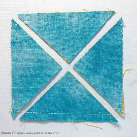 Easy Half Square Triangle Units tutorial featured by top US quilting blog and shop, Seams Like a Dream Quilt Designs: Cut along the diagonal twice and you will have4 HST units.