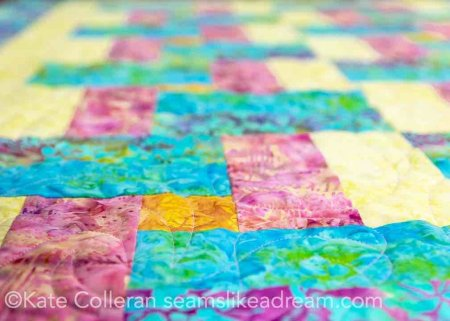 5 Fast and Easy Scrap Quilts you Can Do While at Home featured by top US quilting blog and shop, Seams Like a Dream Quilt Designs: Half Step quilt