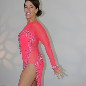 accent cut-aways, mesh inserts on leotard or dress for Dancesport, Ballroom, Latin, Country, Skate dresses