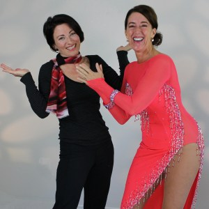 Andrea Nero-Jones wearing a dress by Teresa Sigmon, founder of Seams Sensational, creator of Sew Like A Pro™. Learn to make competition ballroom, Dancesport, Country, skate dresses