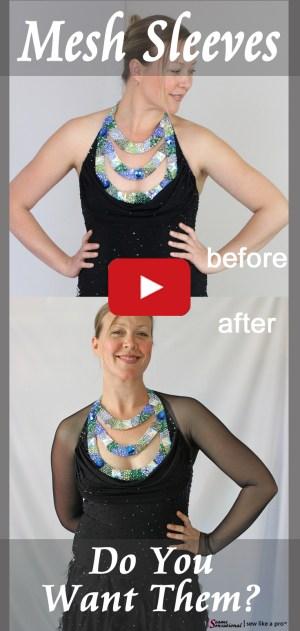 Adding mesh sleeves dramatically changes this Dancesport ballgown.