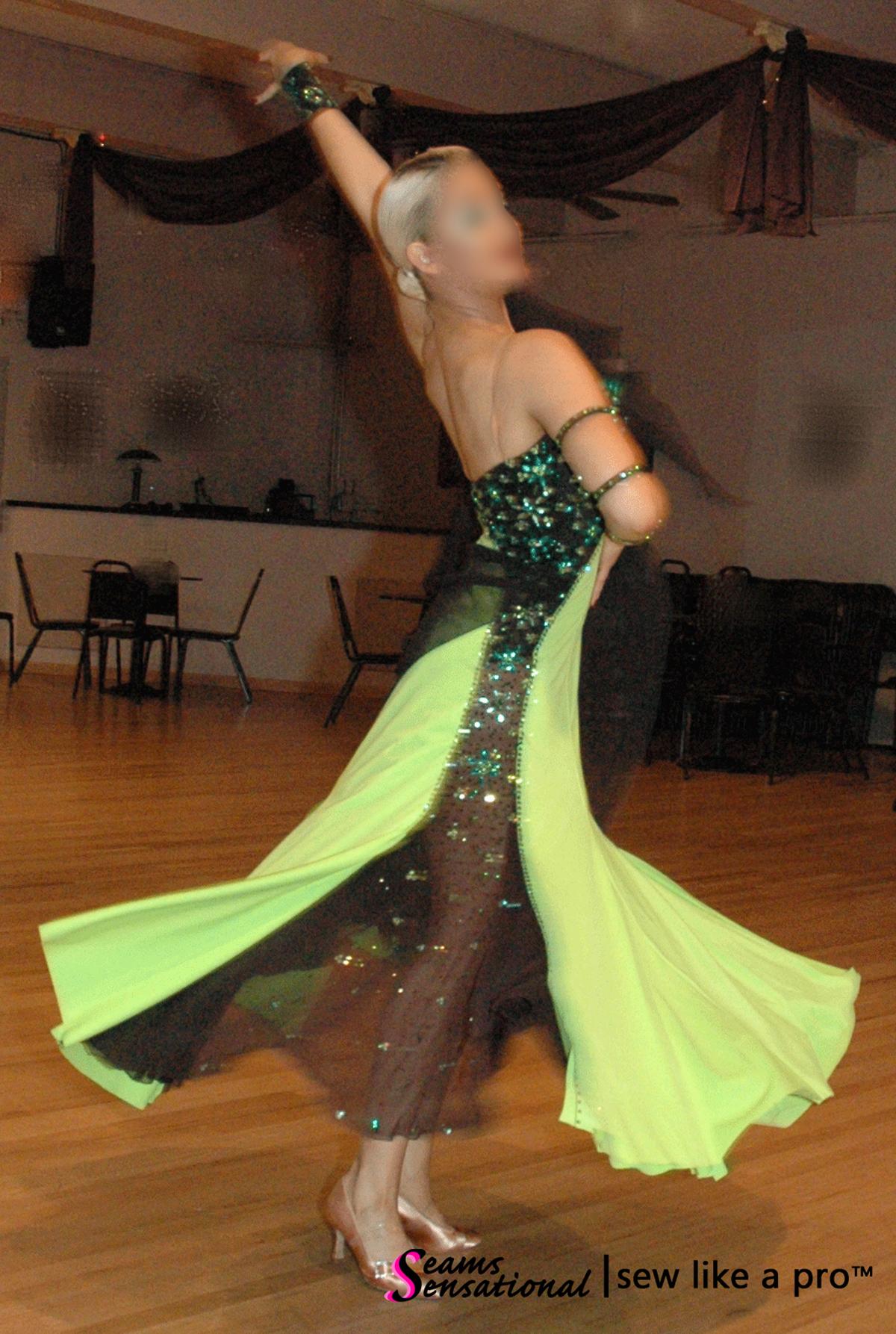 Key design element: contrasting sheer skirt panel on the competition Dancesport ballgown