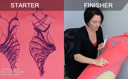 costume sketch, glue rhinestones, starter finisher blog post