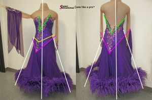 Dress Breakdown a competition Dancesport ballgown, after