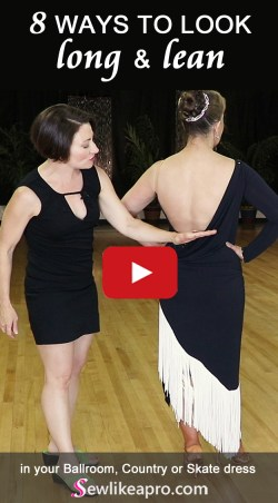 Long lean lines help you look taller & thinner in your Dancesport, Country or Skate dress