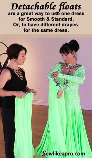 rhinestoned necklace and detachable chiffon floats are strong focal point on the Dancesport ballgown