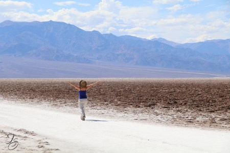 cross country roadtrip, Sew Like A Pro adventure, Teresa Sigmon at Badwater Basin, Death Valley, California