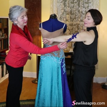 Sewing School member's ballgown, Dancesport ballgown in progress