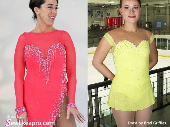 sweetheart neckline, feminine ice skating dress, mesh sleeves, latin dance dress