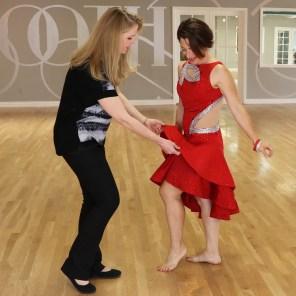 Sherri Hansen, dressmaker, red Latin mesh cutouts, ruffle skirt, crinoline hem
