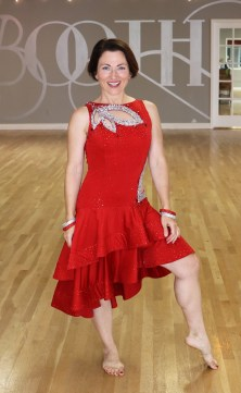 Teresa Sigmon wears Latin dance dress mesh cutouts, ruffle skirt, crinoline hem