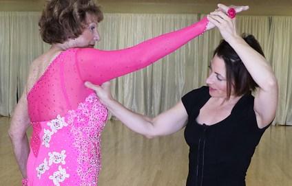 lace ballroom dance dress, mesh sleeve, ballroom dancing costume