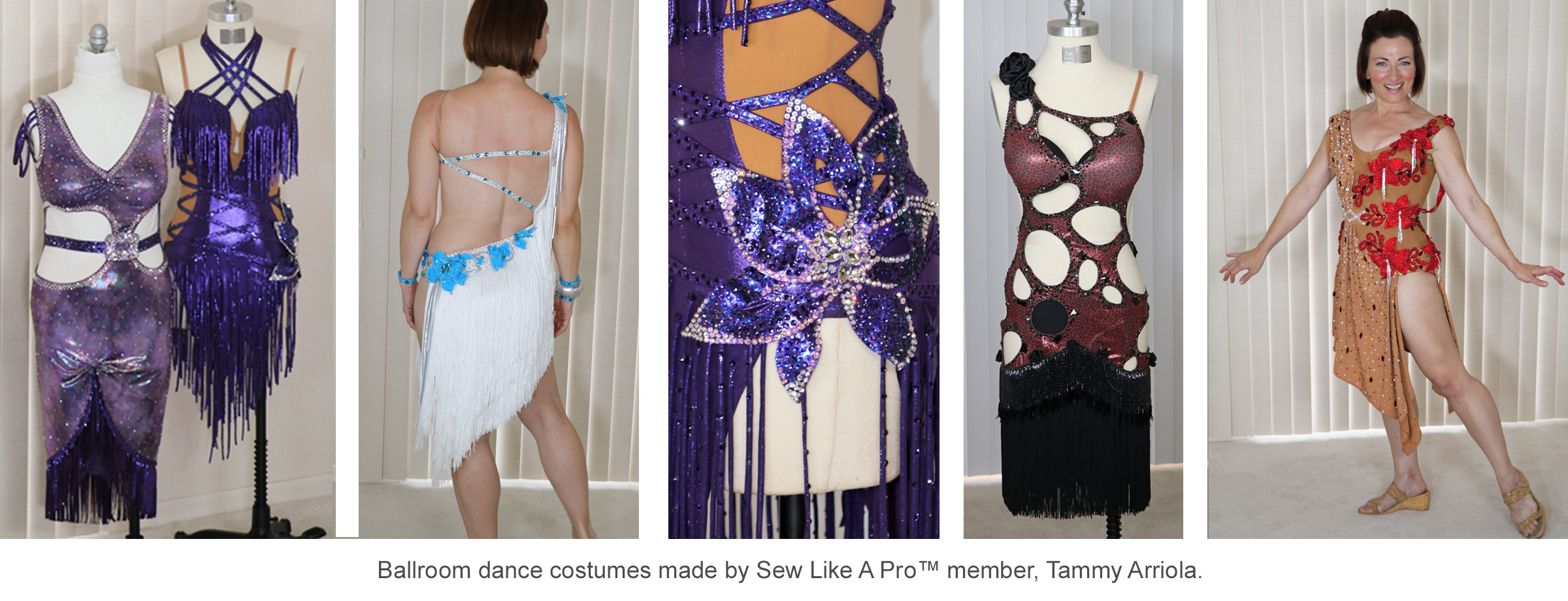 ballroom Dancesport fashion, Teresa Sigmon model, dressmaker, Tammy Arriola, is one of the Sew Like A Pro™ members