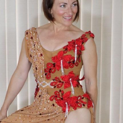 design a dress, Tammy Arriola Sew Like A Pro dressmaker, Latin dance dress, ballroom dance costume, red fabric flowers close up, Teresa Sigmon