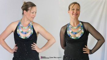 add sleeves rhinestoned necklace Smooth dance ballgown Bree Blevins
