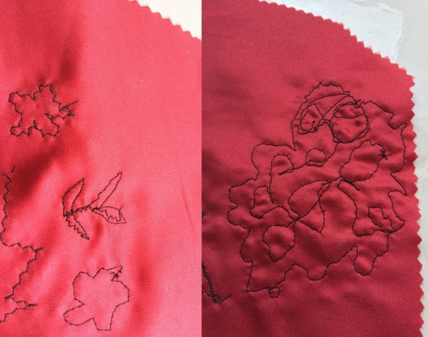 stitching red satin underlay