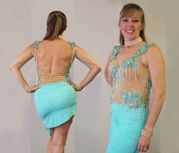 Latin dance skirt alterations, Duffy Betterton Dance Dress Couture, front-back view