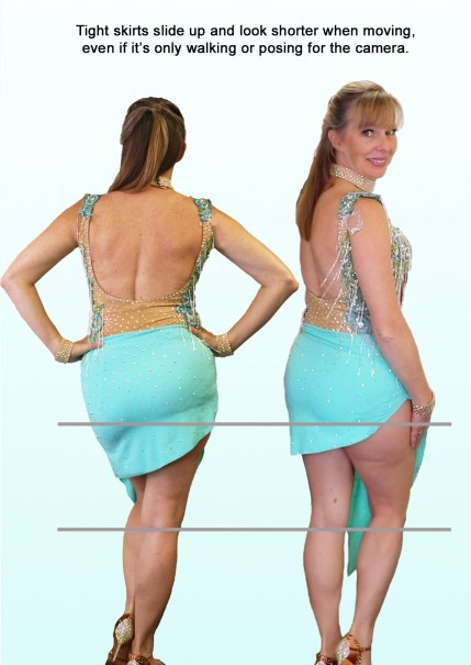 Latin dance skirt alterations are required for a tight skirt that rides up, Duffy Betterton Dance Dress