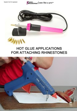 rhinestone glue: hot glue applications are slow but work for gluing rhinestones to Ballroom, Country and skate dresses.