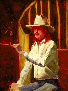 Seamus Berkeley in Hat, self-portrait, oil on canvas