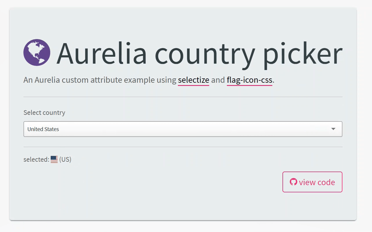 How to create a country picker component using Aurelia and selectize