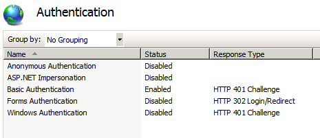 IIS authentication option