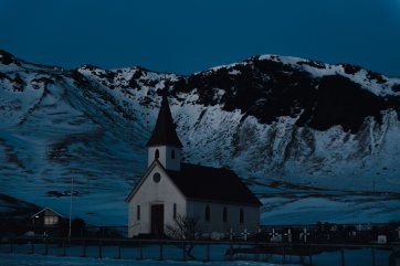 Church in Vik Iceland at sunset