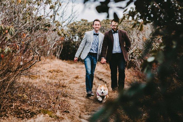 gay couple walks with their corgi Craggy Gardens during their Asheville NC engagement photos