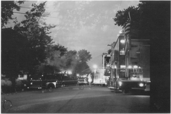 double exposure firetrucks