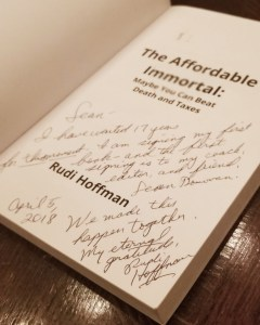 """The written testimonial that Rudi Hoffman left in Sean Donovan's copy of """"The Affordable Immortal"""""""
