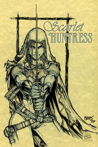 Scarlet Huntress #2 (variant cover), Lineart by Josh Medors