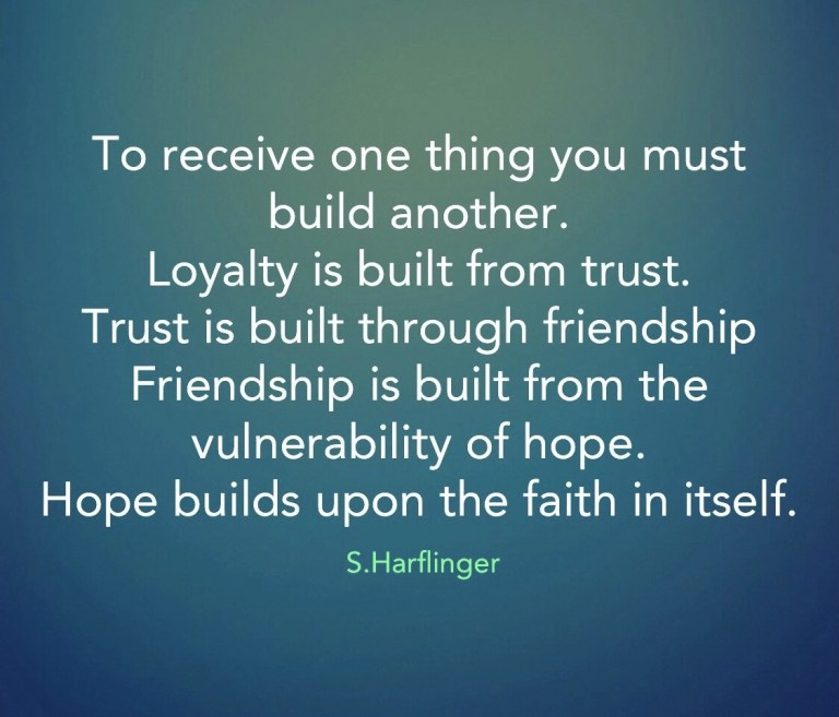Feed your faith in hope and begin building.