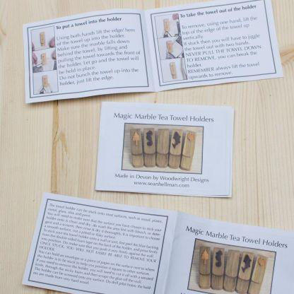 Tea towel instruction leaflet