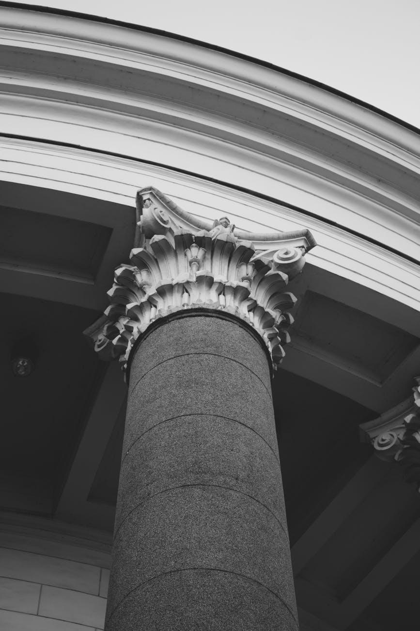 grayscale photo of pillar