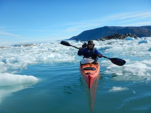 Sea kayak and ice