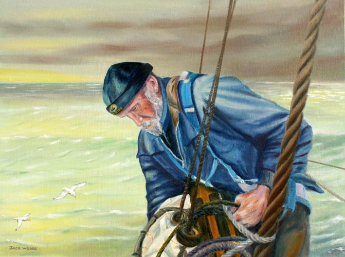 Furling the Topsail seapainting marine art jack woods