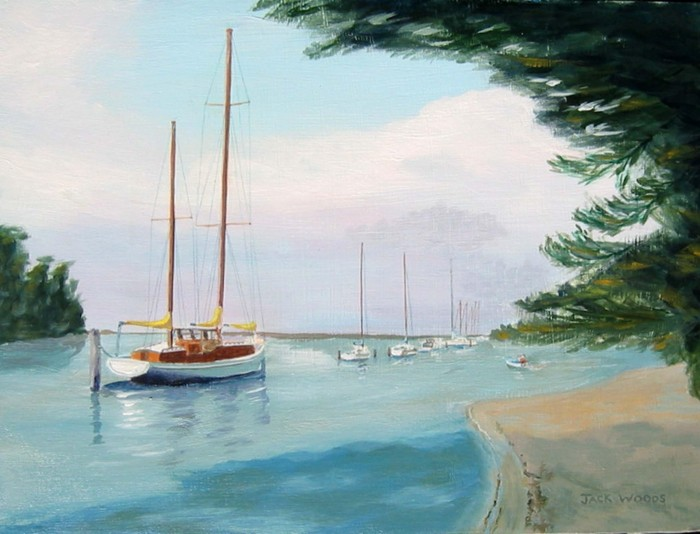 Metung anchorage marine art jack woods seapainting