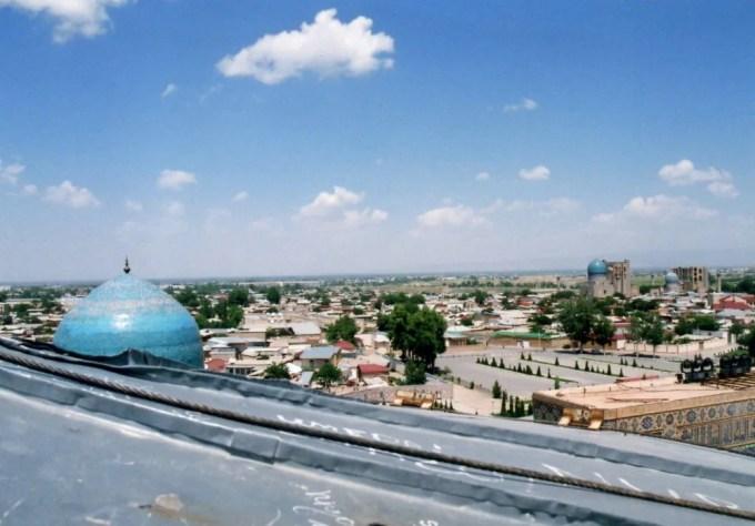ミナレットから眺めるサマルカンドの風景【ウズベキスタン(サマルカンド)】