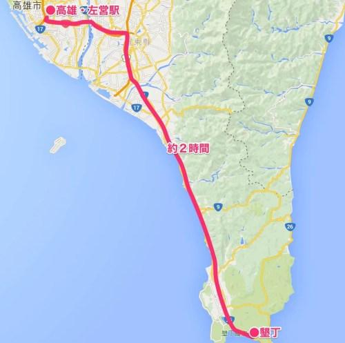 台湾マップ(高雄〜墾丁)