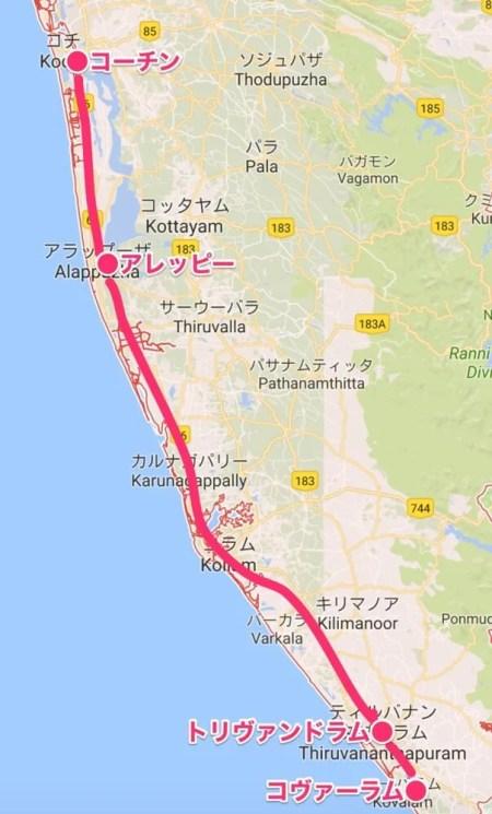 旅ルート(南インド・ケララ州1マップ)