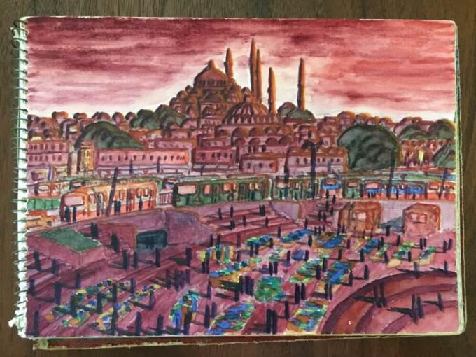 トルコ・イスタンブール「夕暮れのイスタンブール」【絵】