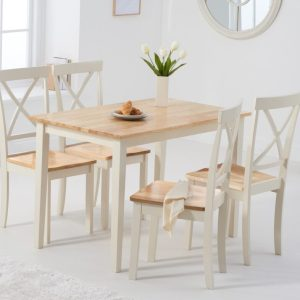 Chiltern 114cm Oak and Cream Dining Table with Epsom Chairs